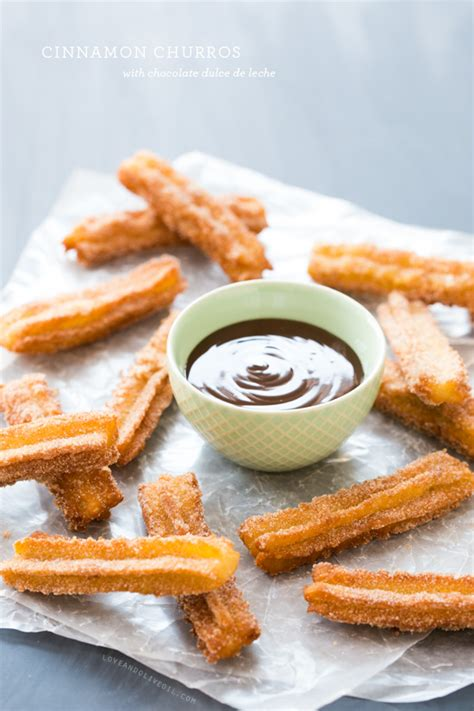 Cinnamon Churros with Chocolate Dulce de Leche   Love and